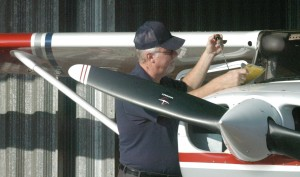 2 Lt Prater using his pre-flight checklist to ensure he and his