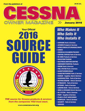 Cessna Owner Magazine January 2016 Source Guide